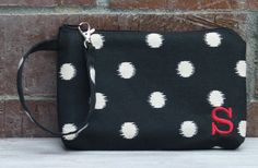 Personalized Black Ikat Dot Wristlet Wallet; Zipper Pouch; iPhone 6 Plus/Samsung Galaxy Cell Phone Wristlet; Cell Phone Purse; Clutch by ChristyRaynDesigns on Etsy