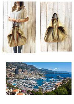 MONTECARLO BAG Handmade Italian Leather & Canvas Tote Handbag