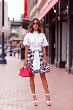 checkered dress with pussy bow blouse