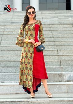 SAWAN CREATION SHREYA RAYON KURTIS MANUFACTURING PRICE11 Samoan Dress, Fancy Kurti, Casual Dresses, Fashion Dresses, Latest Kurti, Indian Gowns Dresses, Kurti Collection, Lehenga Designs, Check Dress