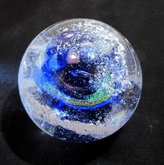 BLUE Memorial CREMATION GLASS Blown Glass Orb - Nebula Swirl Paperweight - (Pet Ashes Only)