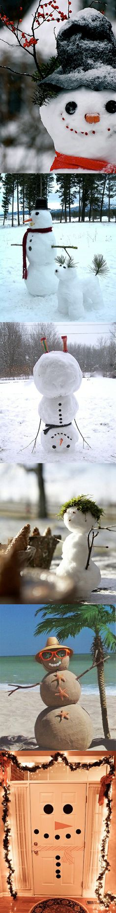 6 Unique Snowman Ideas -this will come in handy since there's a large chance of snow tomorrow and we rarely ever see snow