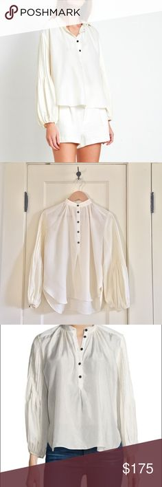 Apiece Apart Bravo Cream Silk Blouse Worn once, like new blouse from Apiece Apart's current fall collection (Blouse is online now on the brand's website). Beautiful mandarin collar with front buttons and exaggerated sleeves. A classic! Love the blouse but it's a little big on me. apiece apart Tops Blouses