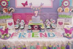 Lego Friends birthday party dessert table! See more party planning ideas at CatchMyParty.com!