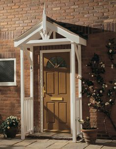 Porch Canopy with side balustrade & Timber Front Door Canopy Porch Hand Made Porch (120cm) | Front ... Pezcame.Com
