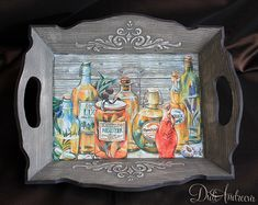 Handmade and decorated with  DECOUPAGE technology - Lovely cute small wooden serving tray with handles.