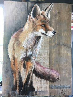 Acrylic Painting on stained wood panel. Fox Painting, Pallet Painting, Painting On Wood, Watercolor Painting, Arte Pallet, Palette Art, Deer Art, Fence Art, Rustic Art
