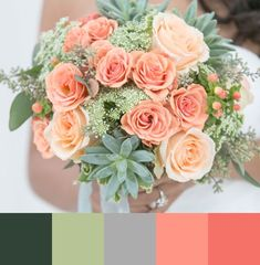 Mint Wedding Color Ideas For the Bride to Be - Brautstrauß - Hochzeit Bridal Bouquet Coral, Coral Wedding Flowers, Peach Bouquet, Summer Wedding Colors, Wedding Bouquets, Wedding Mandap, Wedding Stage, Boquet, Camp Wedding
