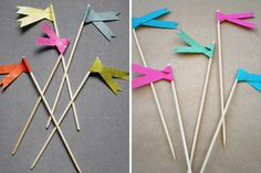 How to make adorable paper ribbon flags for drinks etc.