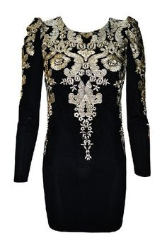 2013 GOLD EMBROIDERED PUFF SLEEVE MINI DRESS IN BLACK on The Hunt