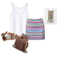 Tribal outfit for the summer. So cute!
