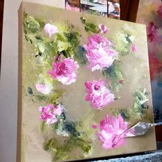 Easy Flower Painting, Acrylic Painting Flowers, Floral Paintings, Abstract Flowers, Diy Painting, Flower Art, Simple Acrylic Paintings, Palette Knife Painting, Diy Canvas Art