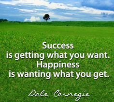 Success is getting what you want. Happiness is wanting what you get. ~Dale Carnegie