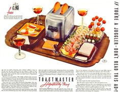 When the party season is on, put your guests at ease with this Toastmaster Hospitality Tray in all its gleaming glory!  (1937)