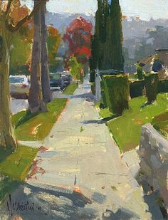 Eagle Rock Sidewalk by Jennifer McChristian Oil ~ 9 x 7