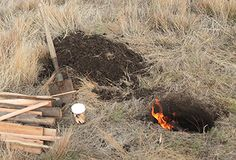 How to dig and cook your dinner in a Dakota Fire Hole (In the ground! Great for camping, especially when hunting.) w/ recipe instructions for three course meal: Hasselback Gorgonzola Sweet Potato; Orange Duck with onions; Vanilla Chocolate Chip Cake Oranges