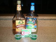 Margarita jello shots, 1 package lime jello, 1/2 cup boiling water  stir then add 3/4 cup margarita mix and 3/4 tequila.
