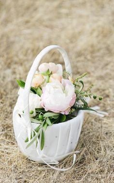 Pretty peony flower girl's basket: http://www.stylemepretty.com/california-weddings/aptos/2015/08/31/rustic-elegant-outdoor-wedding-at-devine-ranch/   Photography: Bluella - http://bluella.com/