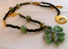 OOAK Black Green Gold Glass Shamrock Necklace by StudioCKH on Etsy, $65.00