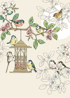 Best Photos Bird Feeders drawing Suggestions : Major word of advice: to get a more genuine looking bird feeder, consider smearing many people on the grooves in additi Bird Illustration, Illustrations, Images Kawaii, Art Carte, Bug Art, Bird Quilt, Bird Drawings, Bird Pictures, Bird Feeders