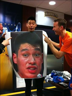 Jeremy Lin with a picture of Jeremy Lin, via Angry Asian Man, via Landry Fields' twitter