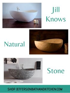 Jefferson's has 20+ years' experience working with Stone Forest. Let Jill guide you through the intricacies of owning a one-of-a-kind tub. #bathrooms #bathroom ideas #naturalstone #bathroomremodel Roman Bathroom, Stone Bathroom, Modern Bathroom, Bathroom Ideas, Stone Tub, Relaxing Bathroom, Kitchen Fixtures, 20 Years