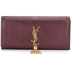 Saint Laurent Monogram Snake-Embossed Tassel Clutch Bag (29,540 MXN) ❤ liked on Polyvore featuring bags, handbags, clutches, purple, metallic purse, purse, metallic handbags, brown clutches and monogrammed purses