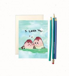 I lava you. Design is hand drawn by yours truly using good ol pencil crayons, then scanned and printed on high quality cardstock (chlorine and acid free). ♥ Card is blank inside for your own sentiments ♥ cm) x cm) in size ♥ Comes with a recycled white Diy Valentine's Day Gifts For Boyfriend, Diy Projects For Boyfriend, Anniversary Cards For Boyfriend, Funny Boyfriend Gifts, Funny Anniversary Cards, Boyfriend Card, Funny Valentine, Valentines Day Cards Handmade, Happy Valentines Day Card