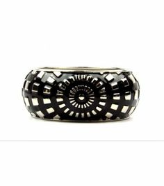 "Alexa Black Geometric Bracelet Outrage Fashion. $14.99. Color: Black and Silver. Material: Metal. Length: 2.6"""