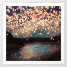 Love Wish Lanterns Art Print by Paula Belle Flores   Society6
