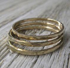 14k Gold Stacking Rings Set of 3