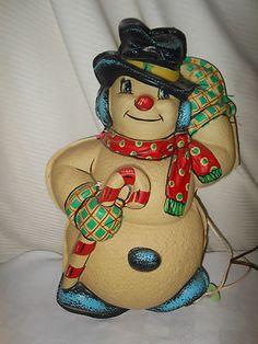 Vintage Christmas Glolite ~ Snowman w/ Candy Cane