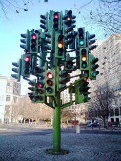 I am a tree. Pierre Vivant's Traffic Light Tree, Westferry Roundabout, Canary Wharf, Tower Hamets, Red Light Green Light, Isle Of Dogs, Flower Installation, Traffic Light, Street Lamp, Tree Lighting, Street Signs, Art Plastique, Public Art