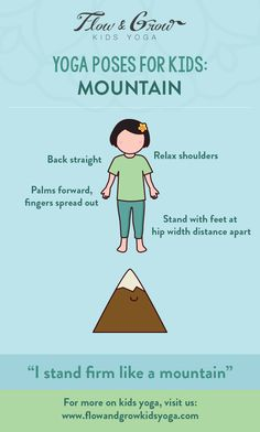 Mountain pose can be done at a moment when you want to feel steady and grounded. When teaching the Mountain pose, we like to align and ground ourselves in this pose. It is an active pose that helps improve posture, balance, and calm focus Kids Yoga Poses, Yoga For Kids, Exercise For Kids, Yoga Bewegungen, Yoga Meditation, Childrens Yoga, Mountain Pose, Pilates, Yoga Music