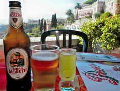 Moretti beer and Limoncello in Taormina, Sicily