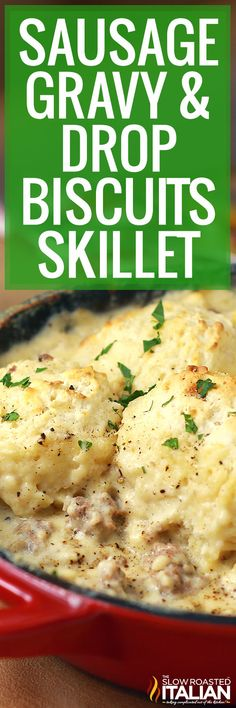 Sausage gravy and drop biscuits is an easy one pan meal based on classic comfort food. Make this skillet recipe for breakfast or dinner! #SausageGravyAndDropBiscuits #SouthernBreakfast #30MinuteMeal Iron Skillet Recipes, One Skillet Meals, Cast Iron Recipes, Skillet Cooking, Breakfast Dishes, Breakfast Recipes, Breakfast Skillet, Brunch Dishes, Breakfast Items