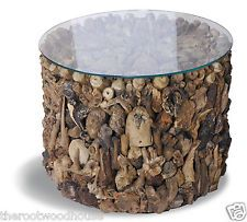 Hand-Crafted Small Driftwood Side Table w/ Tempered Glass Top (Fair Trade)