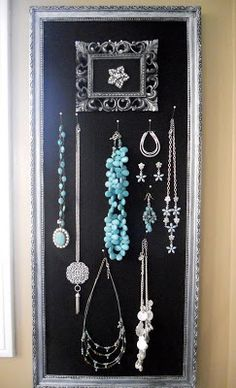 My homemade jewelry organizer Pinned from PinTo for iPad Craft