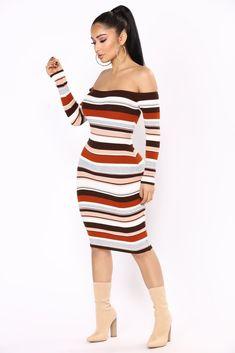 Do I Ever Stripe Dress - Brown Multi