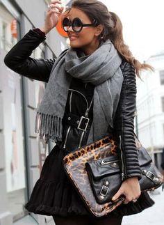 winter fashion leather gray