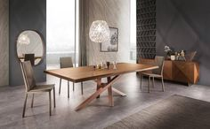 Shangai table in Noce Canaletto by Riflessi.