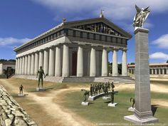 reconstruction of one of the 7 Wonders of the Ancient World, Temple of Zeus, Olympia Ancient Greek Architecture, Classical Architecture, Historical Architecture, Art And Architecture, Classical Greece, Classical Antiquity, Greek History, Ancient History, Ancient Rome