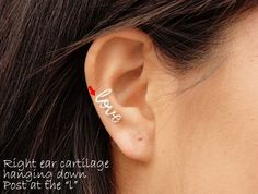 Love Earring Sterling Silver or Gold Filled Cartilage by wirewrap, $22.00