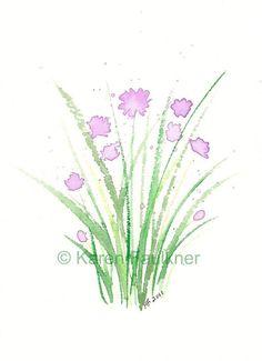 Chives watercolor herb giclee fine art print by karenfaulknerart, $15.00