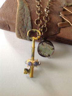 Old World Necklace  SKELETON Key /Lampwork bead