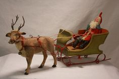 Antique German Santa in Sleigh with Reindeer C1910 | eBay