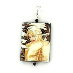 Sterling Silver Onyx Winter by Mucha Hand-painted Pendant $189.00