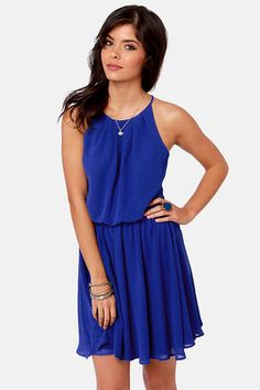 Check it out from Lulus.com! Stay true to your stylish self in the vibrant, True Colors Royal Blue Dress! Lovely Georgette drapes beautifully from a high, halter-esque neckline, with front and back pleats that connect with skinny spaghetti straps. Flouncy bodice gathers into an elasticized waistline, then flows into a full skirt for the perfect flare, while a sexy slit down the back of the bodice shows a peek of skin, topped with two button-and-loop closures. Invisible back zipper. Fully…