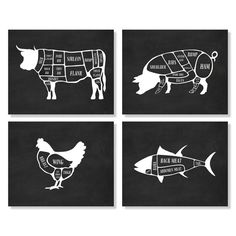 Butcher Chart Cow Pig Chicken Fish Kitchen Art by Picturality