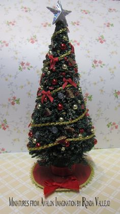 Dollhouse miniature Christmas Holiday Decorated Tree.